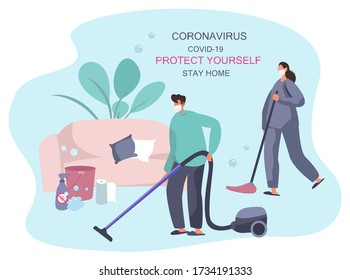 Family Cleaning House Together During Quarantine, Mopping,Wiping Dust and Vacuum Cleaning.Housewife Cleaning Floor with Broom and Bucket.Domestic Housework with Vacuum Cleaner.Flat Vector Illustration
