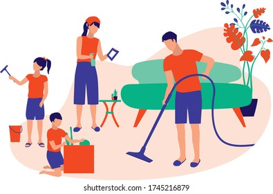 Family Cleaning House Together. Kids Helping Parents With Home Cleaning, Wipe Window And Organise Storage Box. Housekeeping And House Chores Concept. Vector Flat Cartoon Illustration.