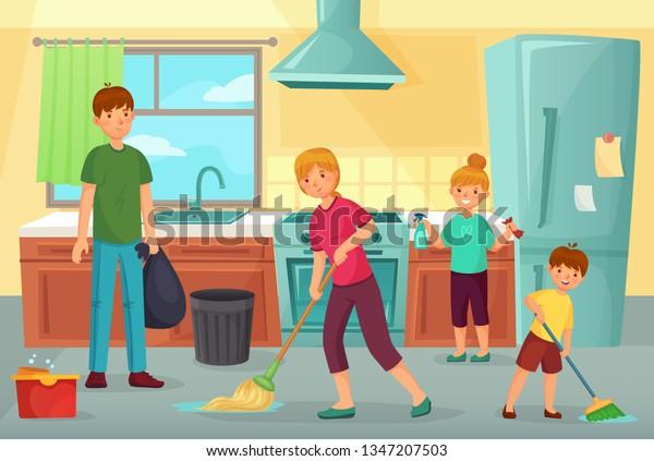 Vector De Stock Libre De Regalias Sobre Cocina De Limpieza