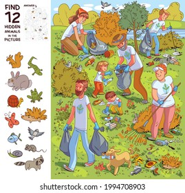 Family collects garbage on nature. Find all the animals in the picture. Find 12 hidden objects in the picture. Puzzle Hidden Items. Funny cartoon character