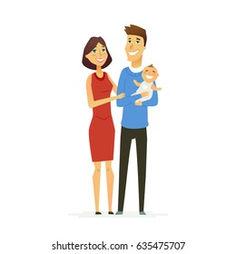 Family - colored vector modern flat illustration composition of cartoon characters. Father, mother, cute baby. United and happy.