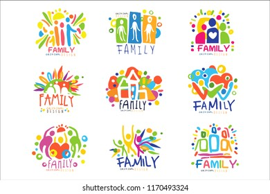 Family colorful labels original design, set of logo graphic templates