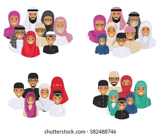 Family concept. Arab people generations at different ages. Muslim father, mother, grandmother, grandfather, son and daughter in traditional islamic clothes. Different man characters avatars icons set