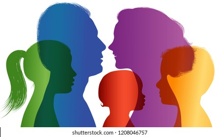 Family concept. Colored silhouette. Profiles with mom - dad - little boy - girl. Multiple exposure. Vector