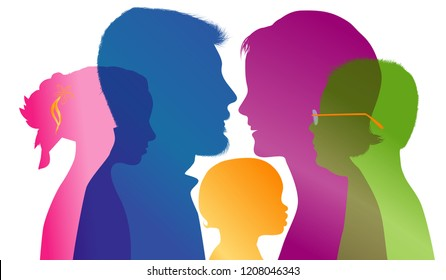 Family concept. Profiles with mom - dad - little boy - girl. Colored silhouette. Vector. Multiple exposure