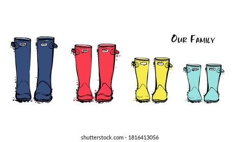 Family concept with rain rubber boots. Blue red yellow wellies collection. Rubber boots autumn fall concept. Vector linear illustration. Decoration family card on white background.