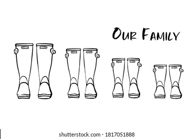 Family concept with rain rubber boots. Black and white line art wellies collection. Rubber boots autumn fall concept. Vector linear illustration. Decoration family card on white background.