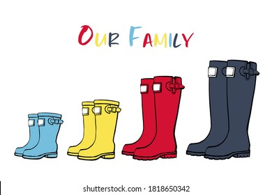 Family concept with rain rubber boots. Red blue yellow line art wellies collection. Rubber boots autumn fall concept. Vector linear illustration. Decoration family card on white background.