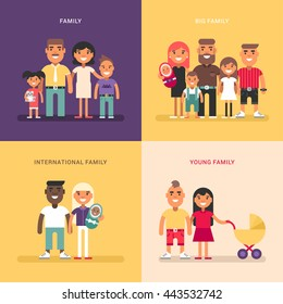 Family concept. Family structure, size, members. A set of four colored flat vector illustrations. Young, big, international family.