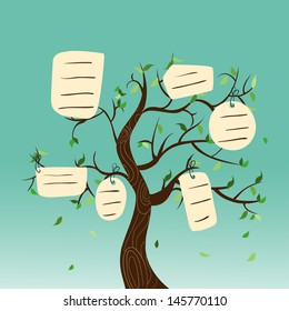 Family concept tree with hanging labels leaves. Vector file layered for easy manipulation and custom coloring.