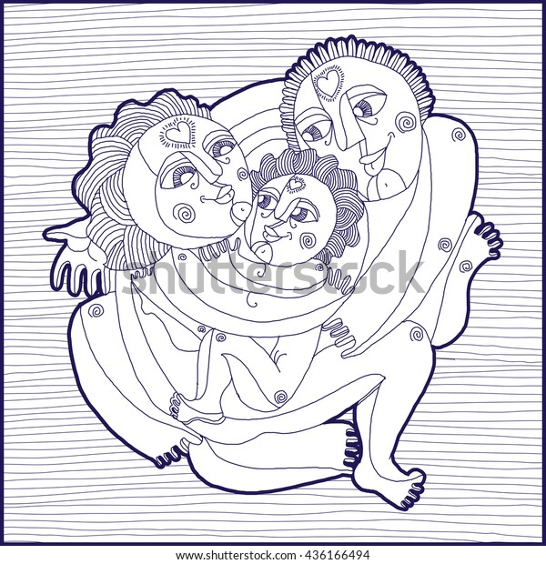 Family Concept Vector Graphic Art Lined Stock Vector Royalty Free