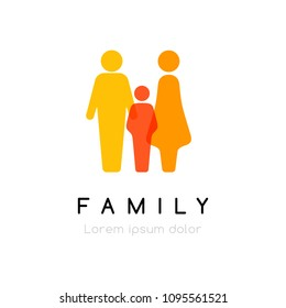Family conceptual emblem. Vector logo with silhouettes of men and women and child.
