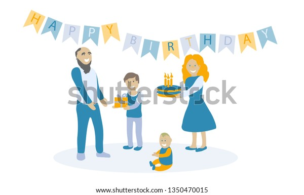 Family Congratulates Dad Happy Birthday Son Stock Vector