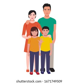 Family consist of mother, father, daughter, and son flat vector isolated on white background