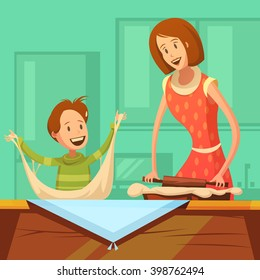 Family cooking background with mother and son making pastry cartoon vector illustration