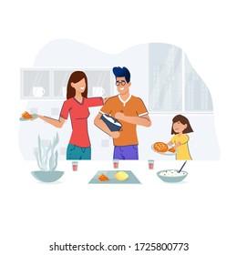 Family cooking in kitchen, serving table, dining together, eating food. Learning and development at home. Smiling man, woman and child preparing homemade meals for dinner. Parents teaching kid at home