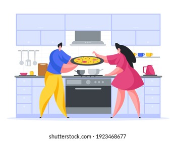 Family cooking pizza at home cartoon illustration vector. Male character is holding large tray with appetizing snack. Woman sprinkles prepared dish with spices. Delicious fast food in your kitchen.