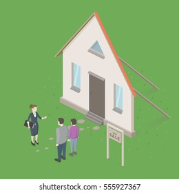Family couple buying a new house. Real estate agent deceives people. Conceptual idea design. Isometric Vector Illustration.