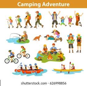 Family, couple, children camping, rafting, hiking, sitting at campfire, make photos of animals, kayaking, mountain biking, planning trip looking at map and tablet, jumping, fishing.