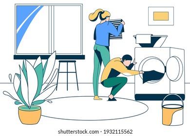 Family couple doing housework together. Husband loading laundry to washing machine. Household chores, laundry, housekeeping concept vector illustration