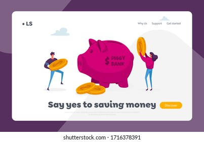 Family Couple Finance Budget Landing Page Template. Characters Put Golden Dollar Coins to Huge Piggy Bank. People Saving and Collect Money in Thrift-box, Open Bank Deposit. Cartoon Vector Illustration