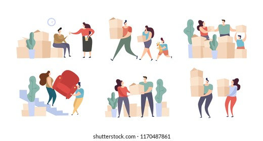 Family Couple with Kid and a New Home Moving Day. Cardboard Box with Various Things from House for Moving, Delivery Package Relocation. Flat Vector Illustration