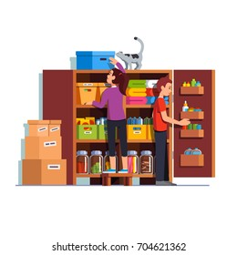Family couple man & woman working together putting boxes to home pantry or cellar cupboard shelves. Storage room things and bottles. Flat style cartoon vector illustration isolated on white background