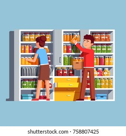 Family couple man & woman working together putting bottles to home pantry or cellar cupboard shelves. Storage room things and bottles. Flat cartoon vector isolated illustration.