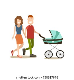 Family couple with newborn baby in pram walking together. People and relations concept flat style design element, icon isolated on white background.