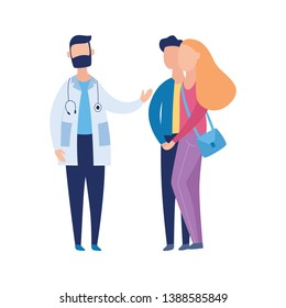 Family couple on consultation at IVF or other fertility and healthcare problems talking to doctor flat cartoon vector illustration isolated on white background.