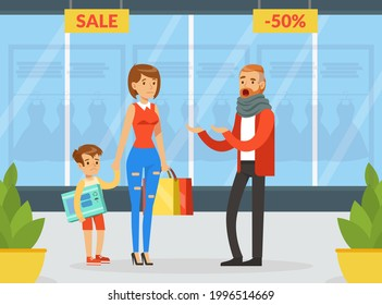 Family Couple Quarreling at Shopping Mall, Husband Scolding his Upset Wife and Son, Human Relations, Family Quarrel Cartoon Vector Illustration