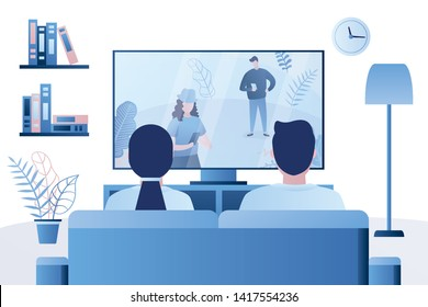 Family couple sitting on the couch and watching tv,male and female characters back view,living room interior,trendy style vector illustration