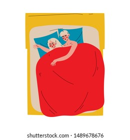 Family Couple Sleeping Together in Double Bed at Night Under Blanket, View From Above Vector Illustration