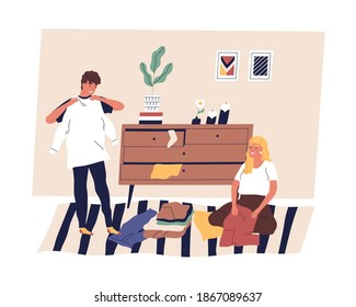Family couple sorting, folding and organizing clothes. Scene of husband and wife doing cleanup or housework together. Cheerful people arranging clothing in room. Flat vector cartoon illustration