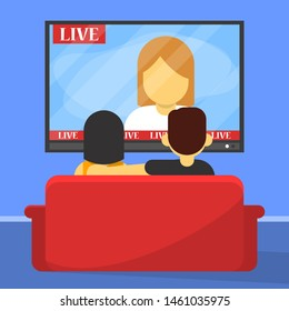 Family couple watch TV sitting on the sofa back view. People on the couch relax after work. Flat style vector isolated. Free time in living room.