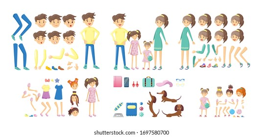 Family creation kit, cartoon character constructor. Body parts, face, facial expressions, body gesture. Parents and children in different poses. Create your own pose using family creation kit vector