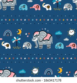 Family of Cute Elephants Seamless Vector Pattern. Pattern of Weather Elements, Mom Elephant with Baby Elephants and Little Mammoth. Doodle Cartoon Animals. Colorful Background for Kids