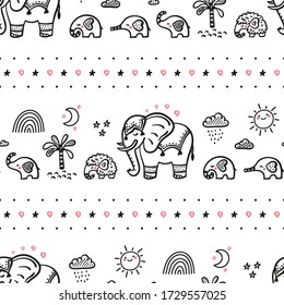 Family of Cute Elephants Vector Seamless Pattern. Weather Elements Patterns, Mom Elephant with Baby Elephants and Little Mammoth. Doodle Cartoon Animals. Background for Kids