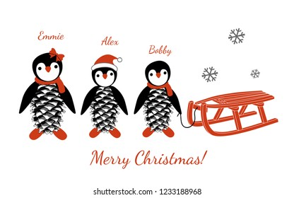 Family of cute little penguins. Personalized Family Christmas