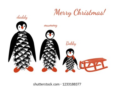 7e5a4bedcd3dc Family of cute penguins. Personalized Family Christmas card. Festive vector  illustration.
