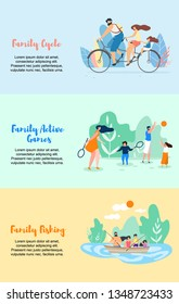 Family Cycle Active Games Family Fishing Vector Flat Illustration Banner. Parents with Children Play Badminton and Ball. Whole Family Went for Weekend on Beautiful Lake Go Boating Fish