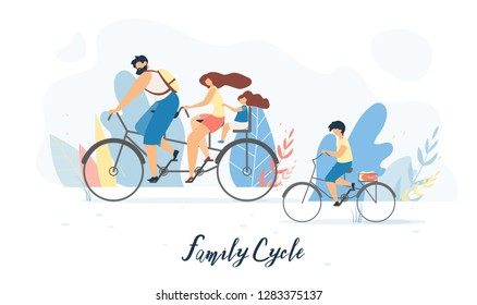 Family Cycle Flat Vector Banner, Poster with Father and Mother Riding Tandem Bicycle with Daughter Sitting on Child Bike Seat Behind, Son Cycling Beside Illustration. Family Outdoor Activity Concept
