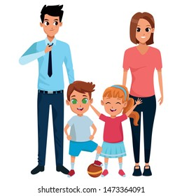 Family dad and mom with little daughter and son playing with ball vector illustration graphic design