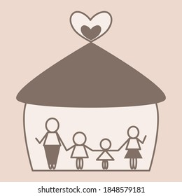 Family, dad mom and two kids, in home. simple line art. Vintage and minimal style. Shade of Brown color background. Stay home and stronger together concept.