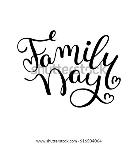 family day hand lettering template card stock vector royalty free