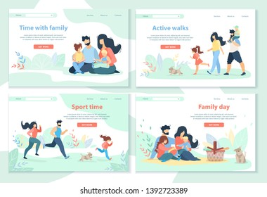 Family Day, Leisure, Sport Time, Active Walks Horizontal Banner Set. Happy People Spend Time Together. Mother, Father and Kids Healthy Lifestyle, Outdoor Activity. Cartoon Flat Vector Illustration