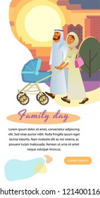 Family Day Out Vertical Vector Web Banner, Landing Page or Flyer with Muslim Father and Mother in Arabian Ethnic Clothes Walking with Baby Carriage Cartoon Illustration. Parents with Child on Stroll
