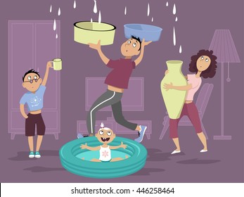 Family dealing with a water leak in the ceiling, EPS 8 vector illustration, no transparencies