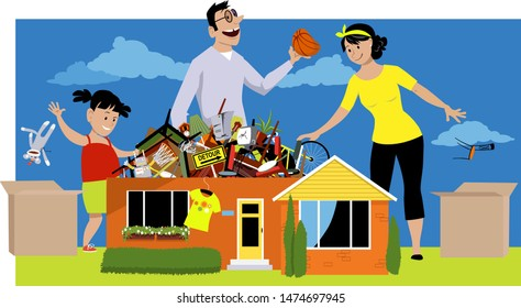 Family declutter their hoarded house, throwing away things, EPS 8 vector illustration
