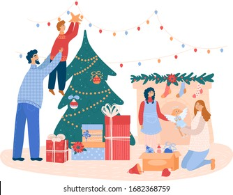 Family decorates a Christmas tree and fireplace befor Xmas, concept and vector illustration, isolated on white background. Characters girl, boy, man and woman in house and xmax fir. Cartoon style.